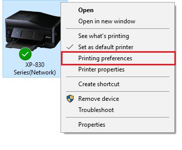 Printing Preferences 10