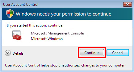 User Account Control message