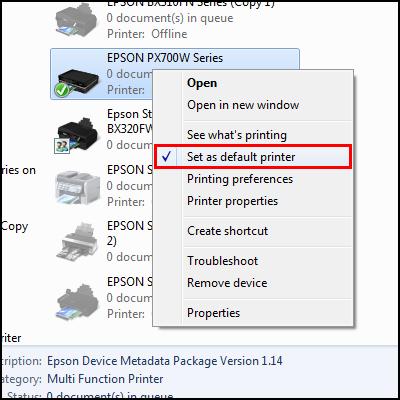 Set a printer as the default